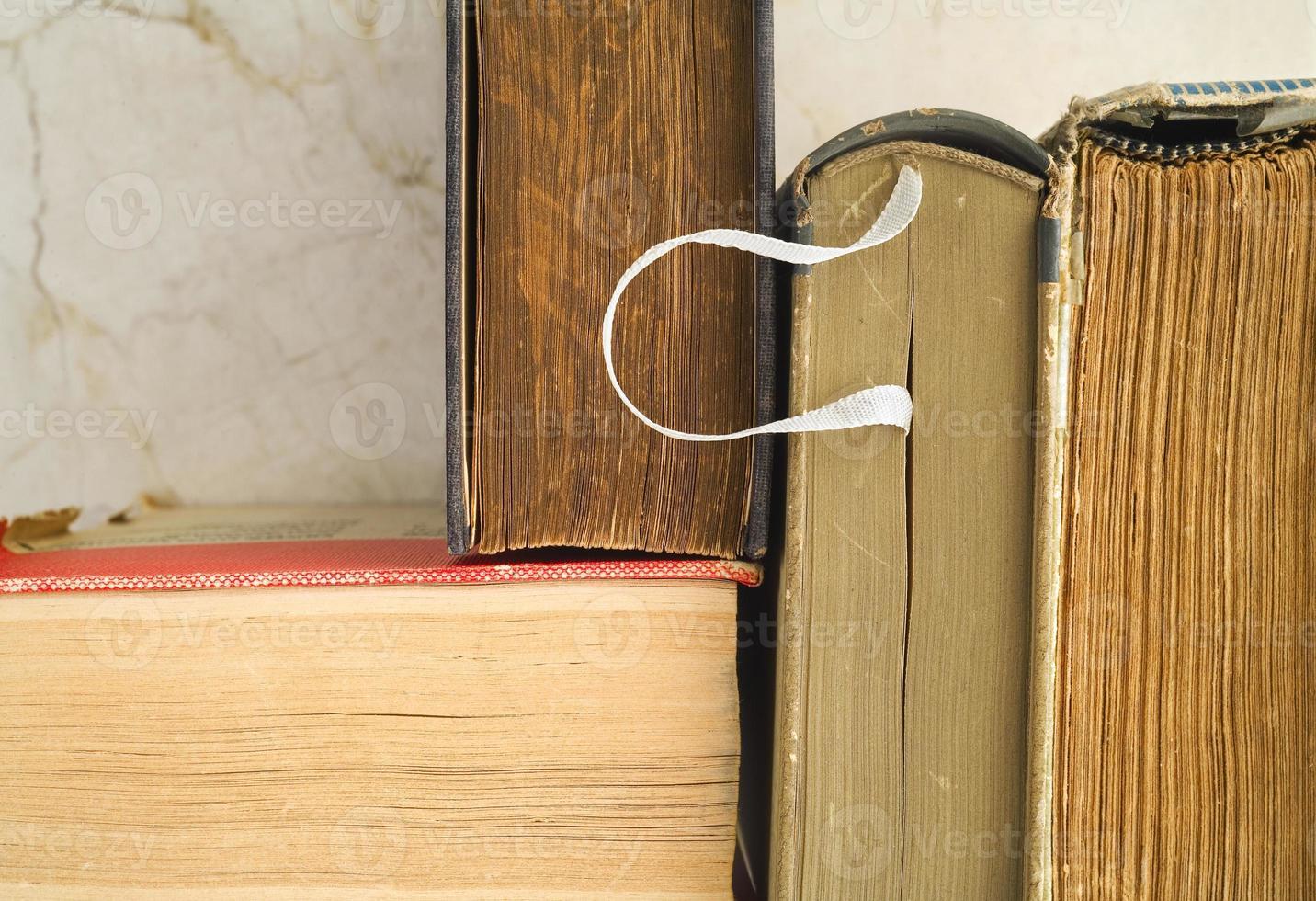 old books, close up photo