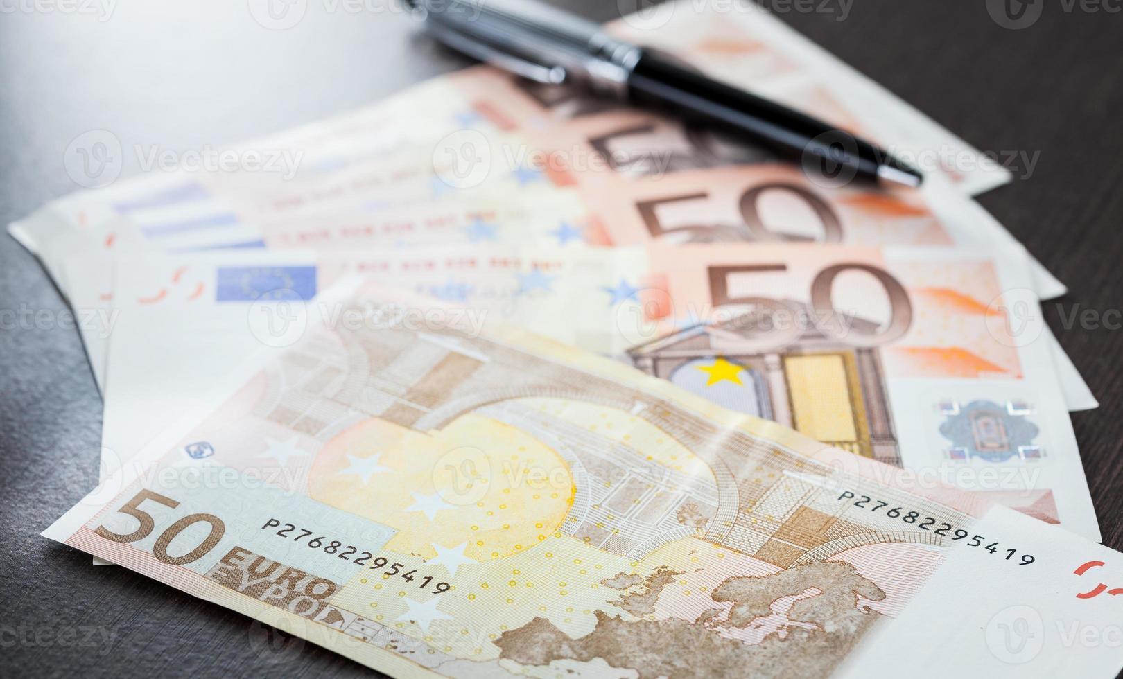 Close up Euro banknote photo