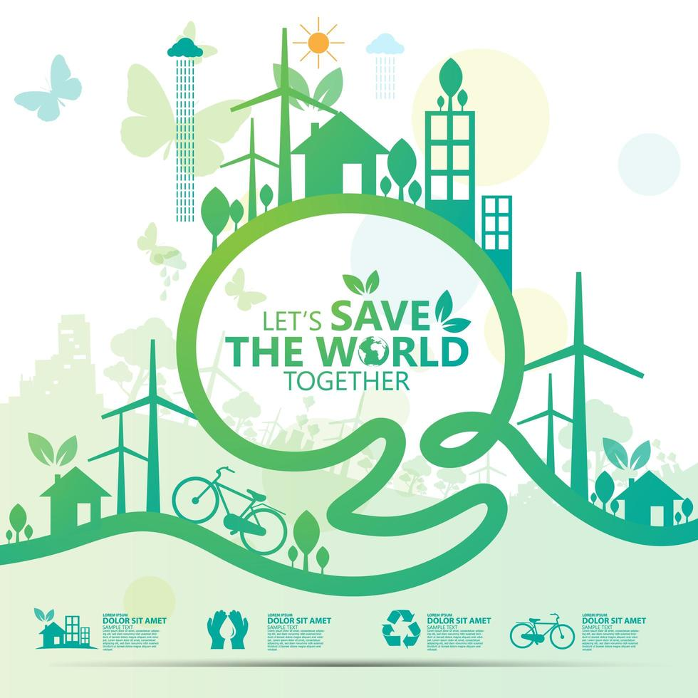 Flat Style Green Save the World Poster - Download Free ...