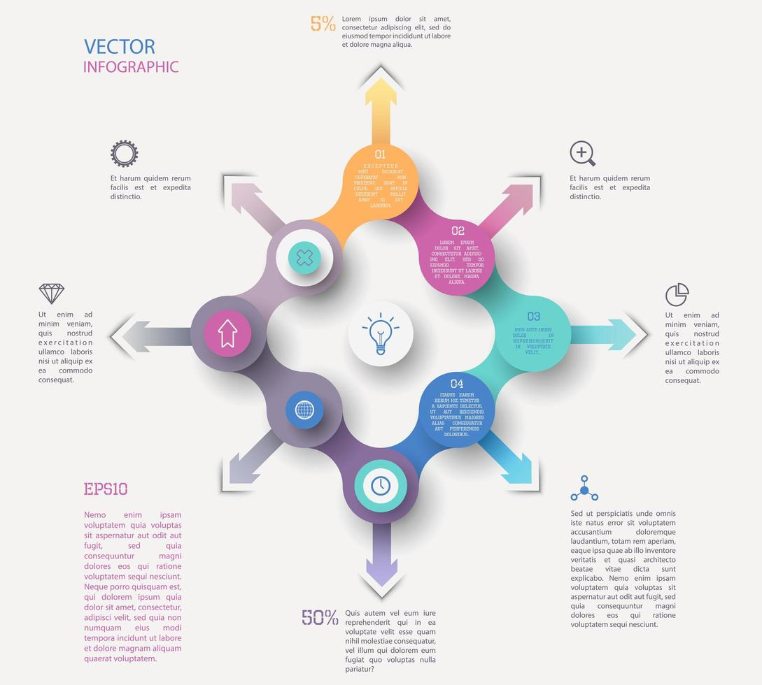 Modern Bright Pastel Color Infographic Flowchart  vector