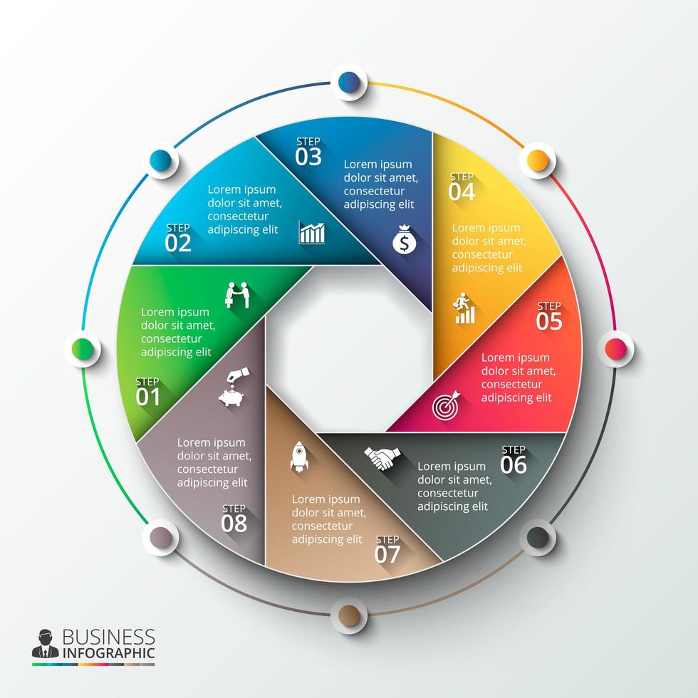 Circular Colorful Business Infographic  vector