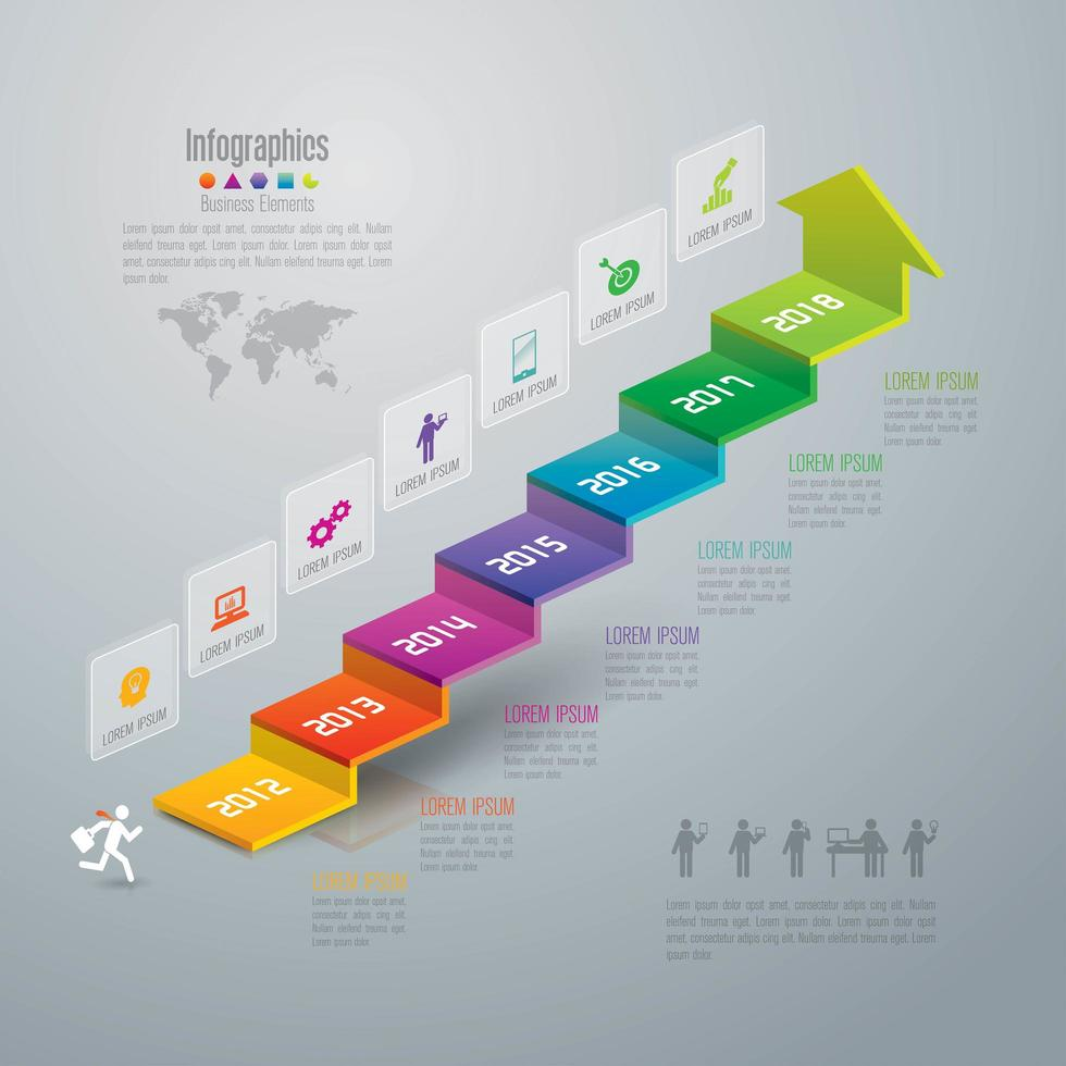Colorful Step Chart Business Infographic  vector