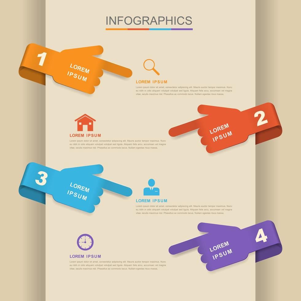 Colorful Business Infographic with Hand Symbols vector