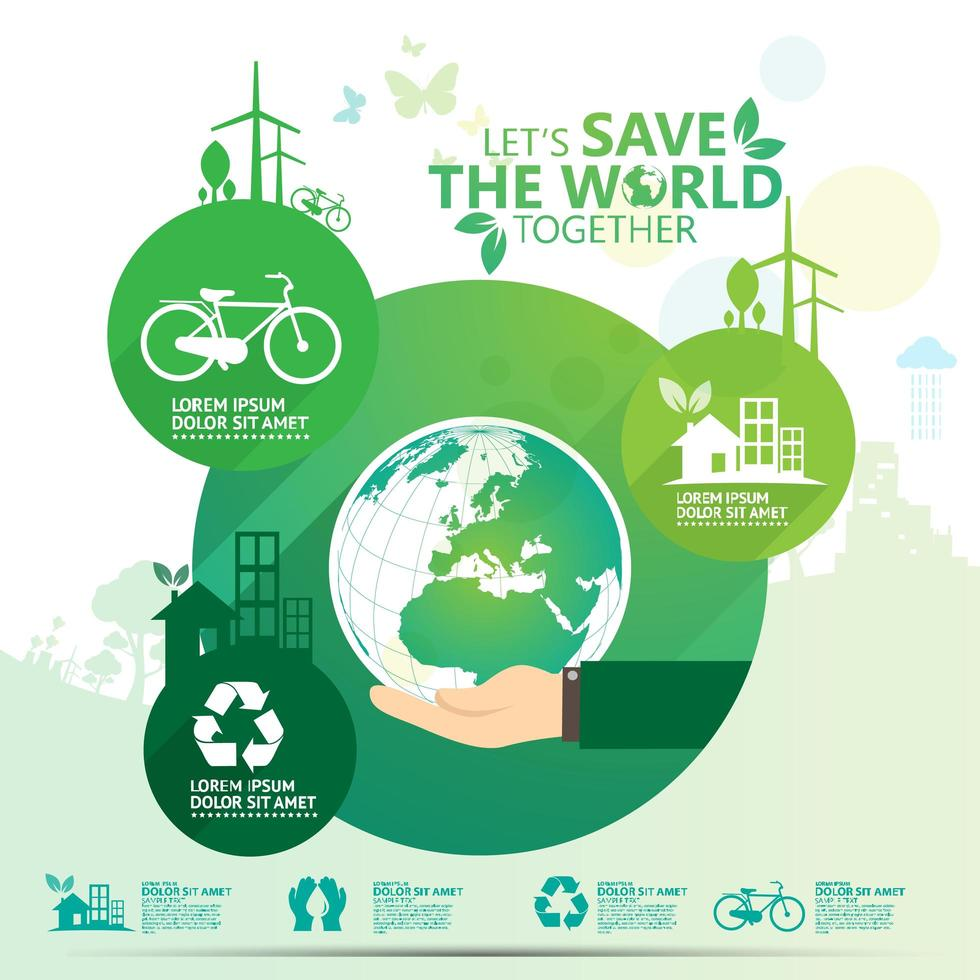 Green ''Let's Save the World Together'' Business Infographic vector