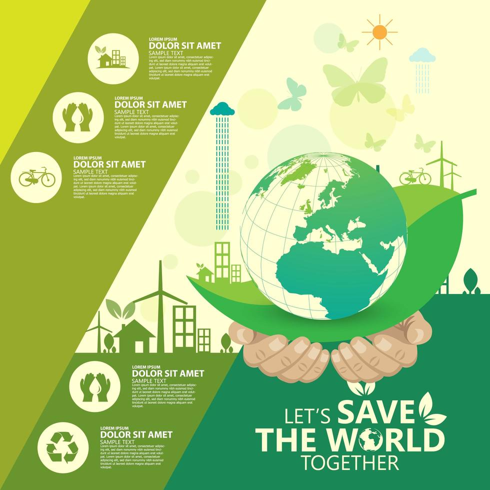 Green Business Infographic with Hands and Earth vector