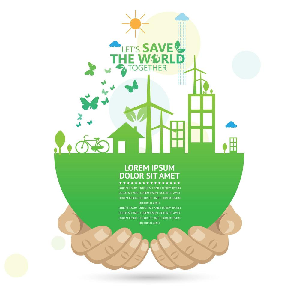 Globe with Hands Holding Eco-Friendly Activities vector