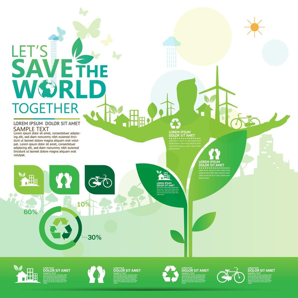Green Business Infographic with Man Coming out of Plant vector