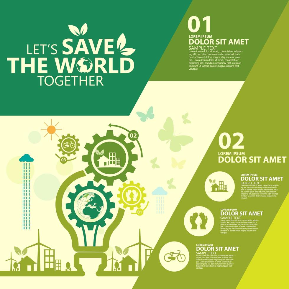 Eco-Friendly Infographic with Lightbulb Gears vector