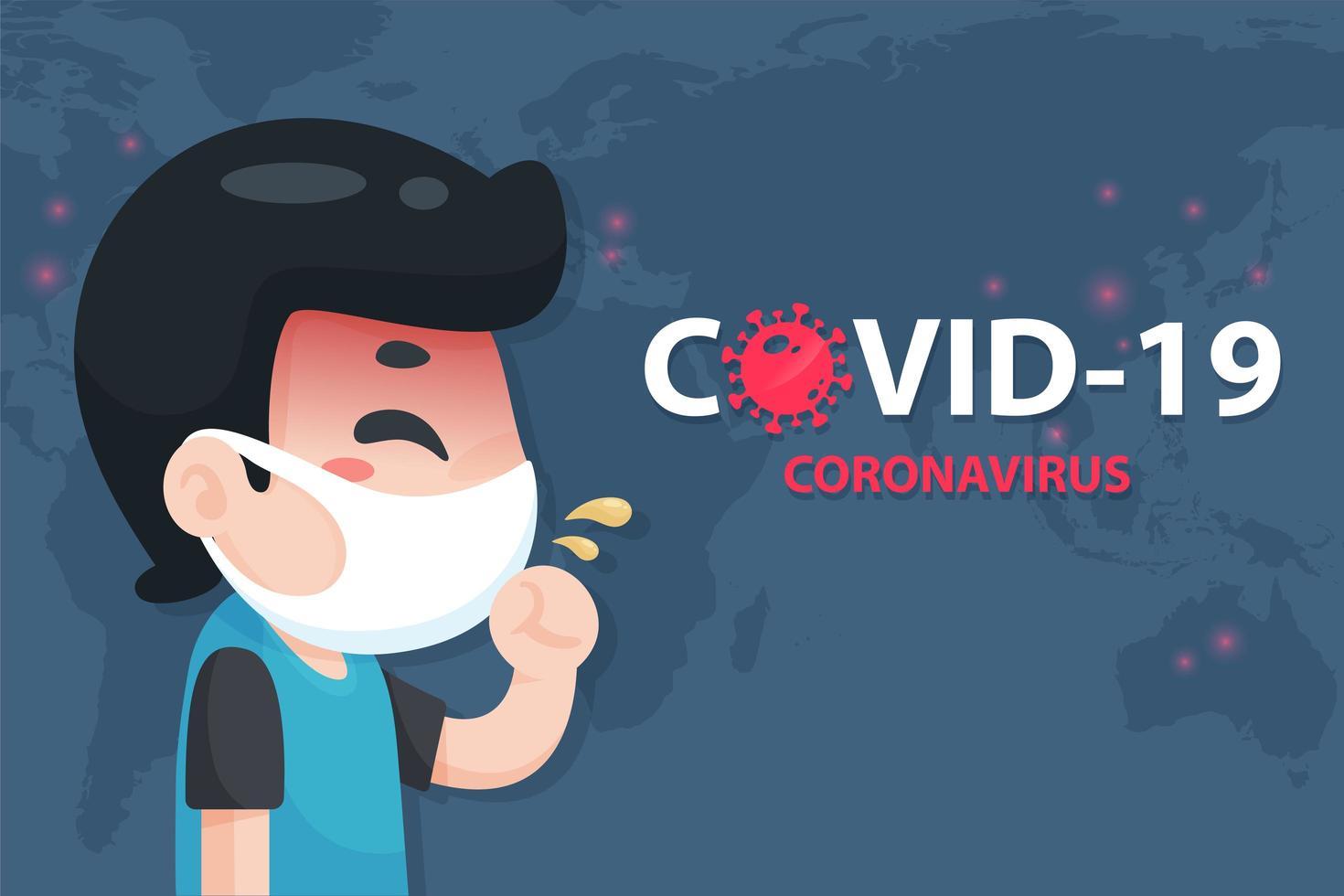 Cartoon Man with Coronavirus Symptoms Covid Poster  vector