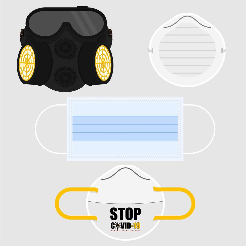 Set Of Various Masks For Protection vector