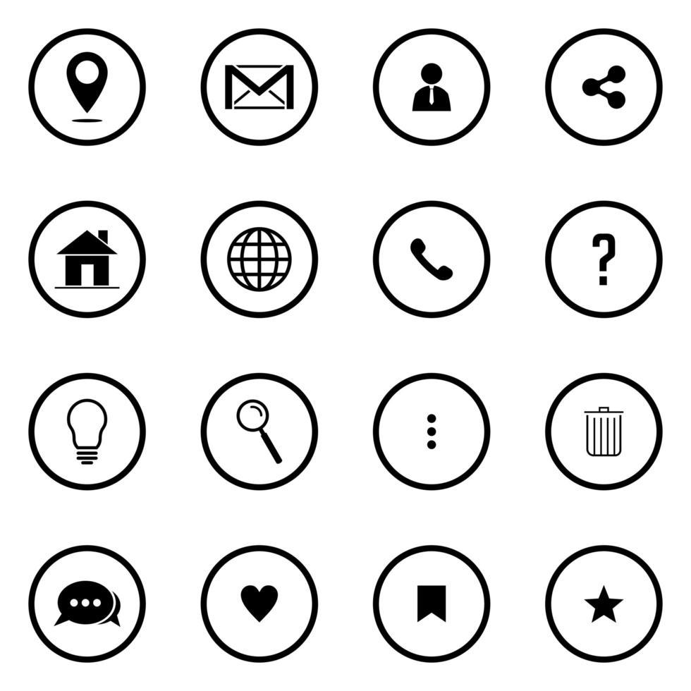conjunto de iconos web para negocios, finanzas y comunicación vector