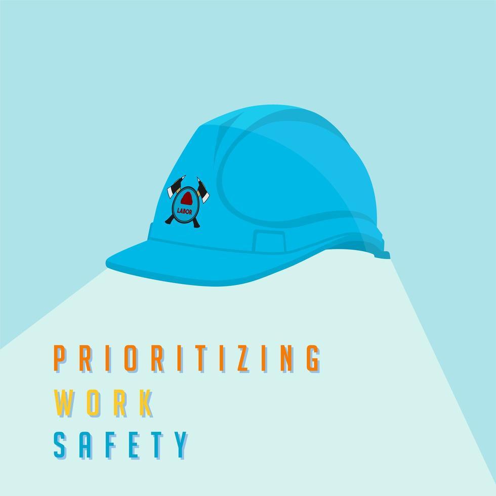 casco da lavoro con priorità di sicurezza sul lavoro vettore