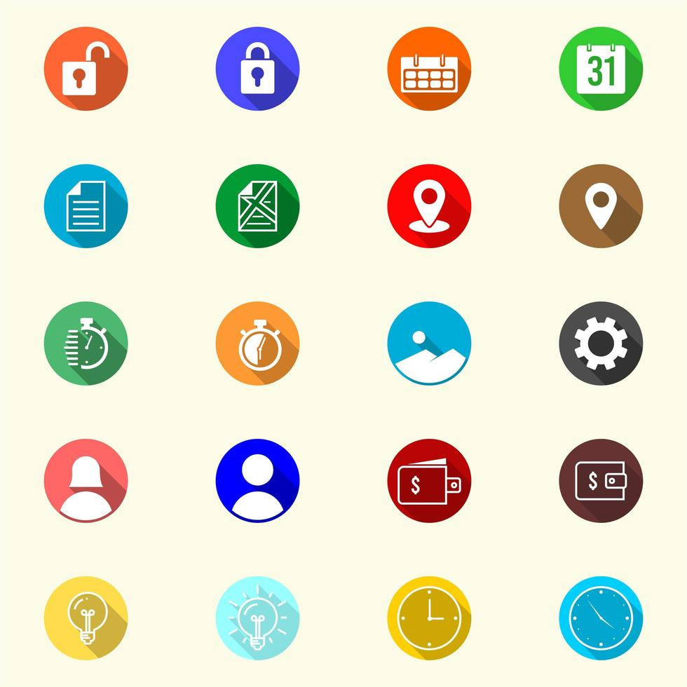 Colorful Icons In Flat Style Set vector