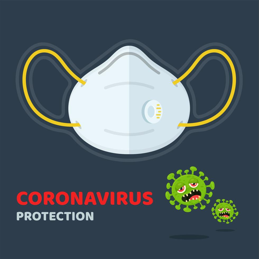 Coronavirus Protection Poster with Face Mask  vector