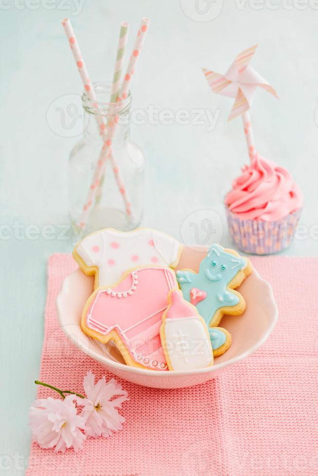 Baby shower cupcake and cookies photo