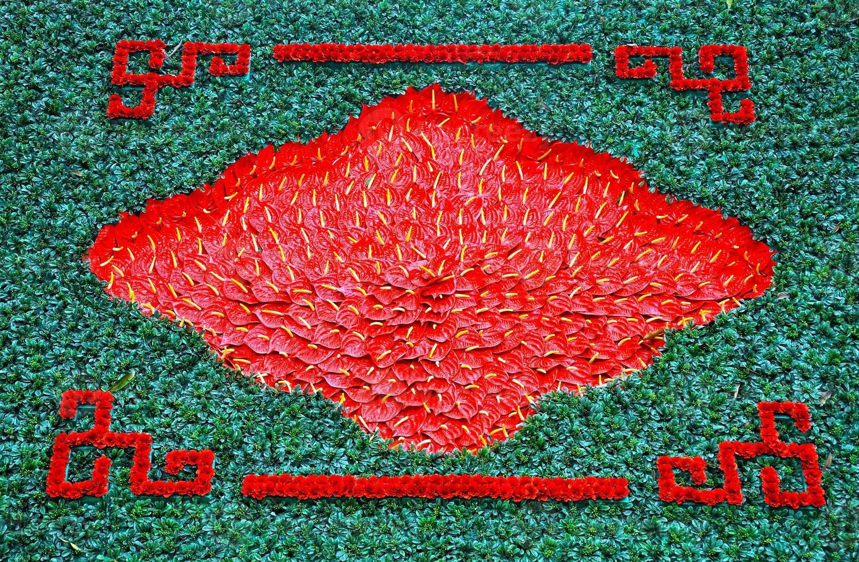 Fondo con flores de lirio flamenco rojo, lirio de cala foto