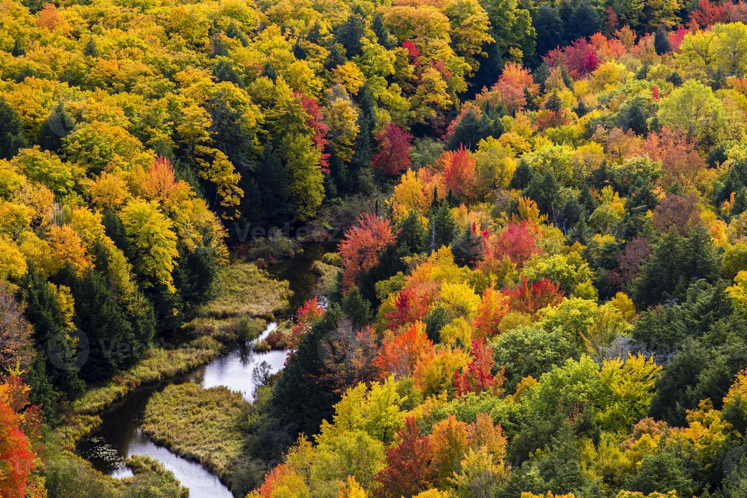 Falls colors at Carp river, Porcupine Mountains State Park photo