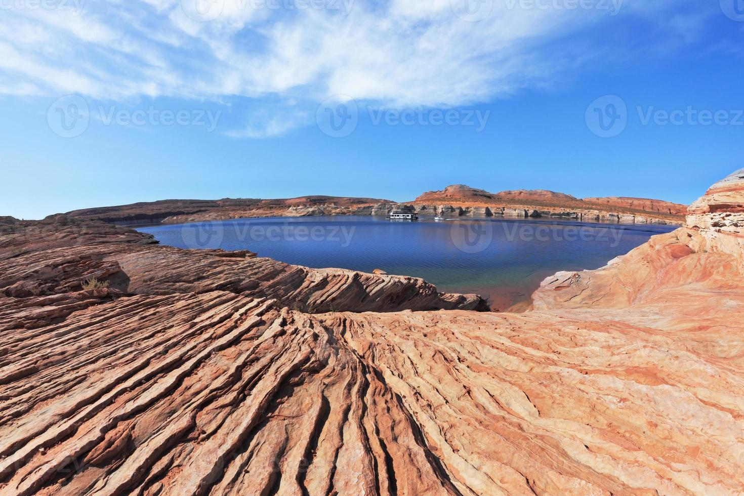 The water and green bay  of Antelope Canyon photo