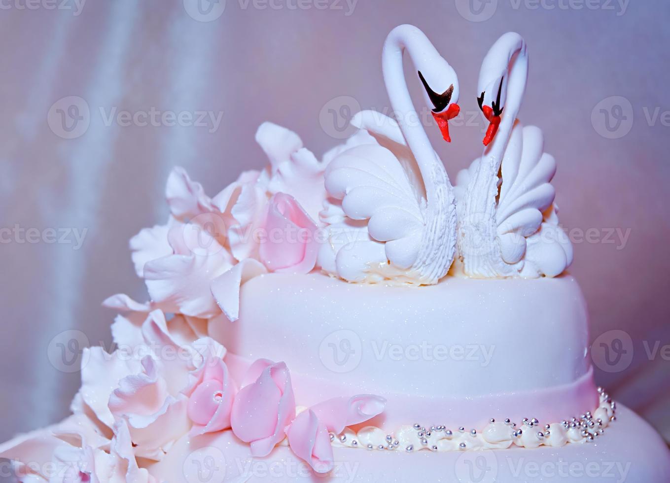 Wedding cake with swans photo
