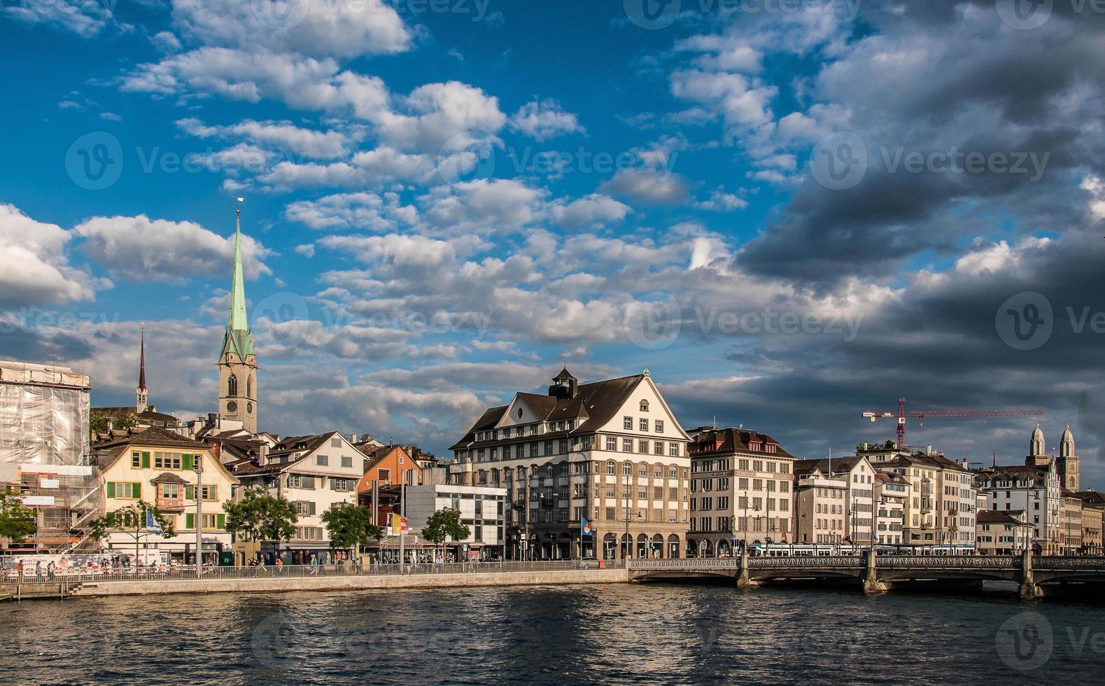 Cityscape of Zurich, Switzerland and Limmat River photo