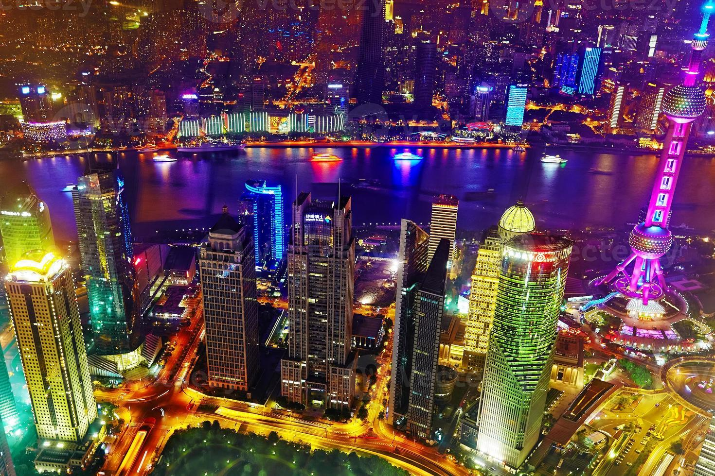 Night view skyscrapers, city building of Pudong, Shanghai, China photo