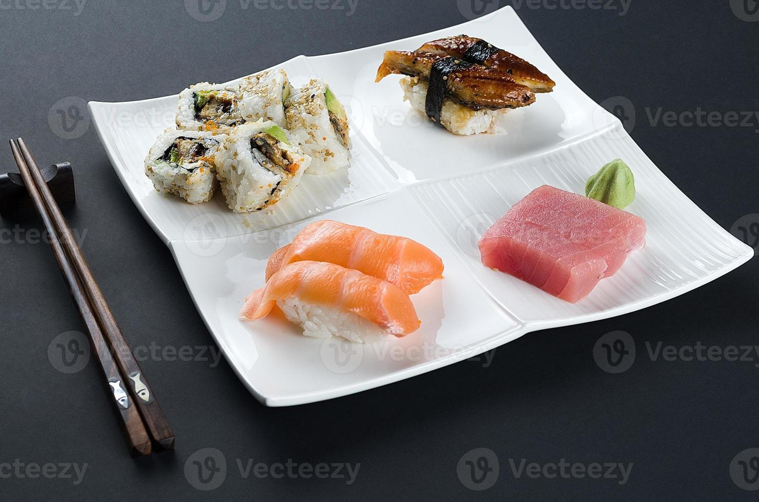 Sushi set on dark photo