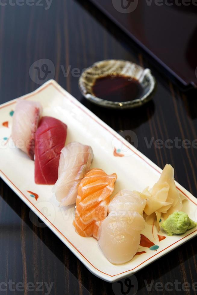 Sushi set in plate photo