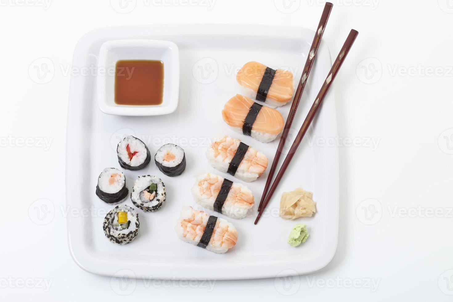 Maki sushi in plate, elevated view photo
