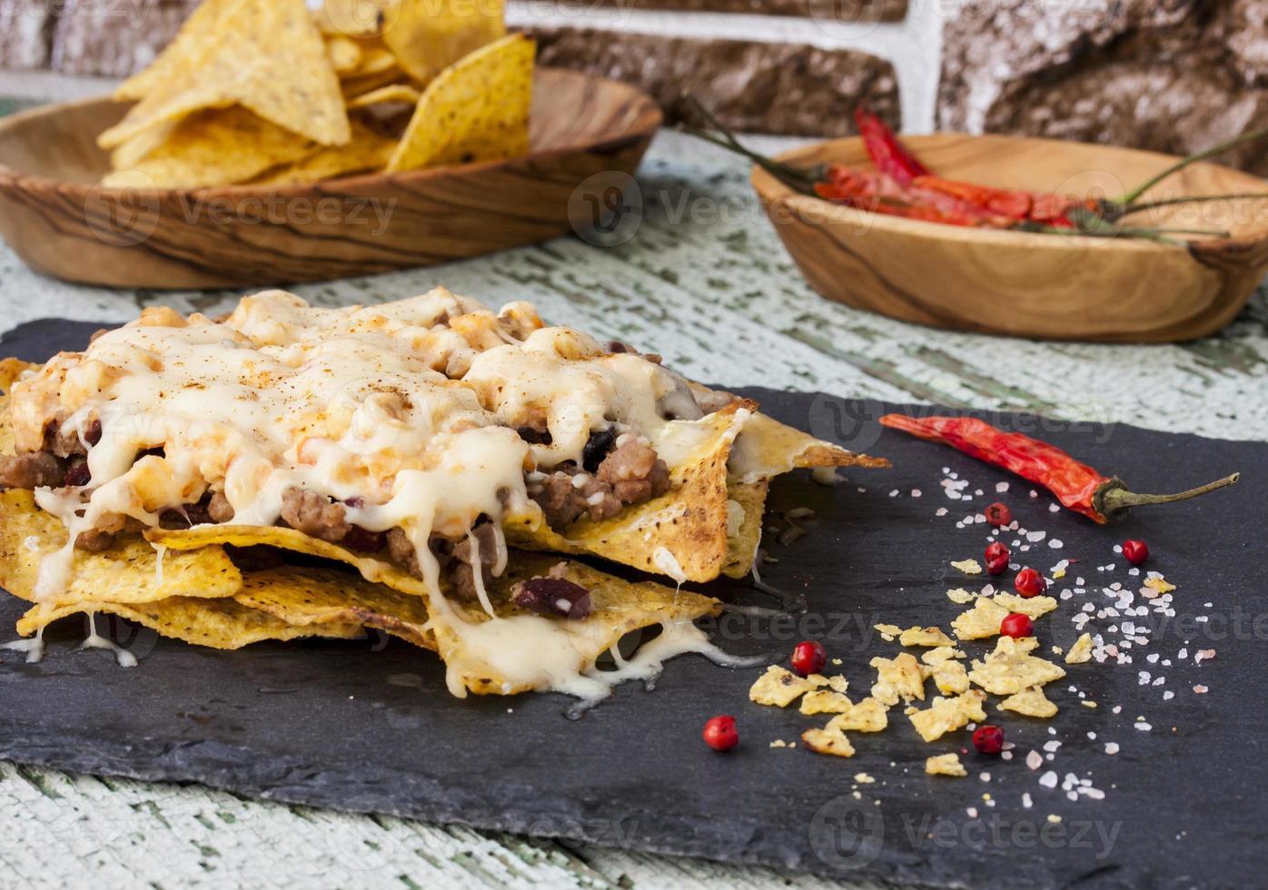 nachos con carne de res foto
