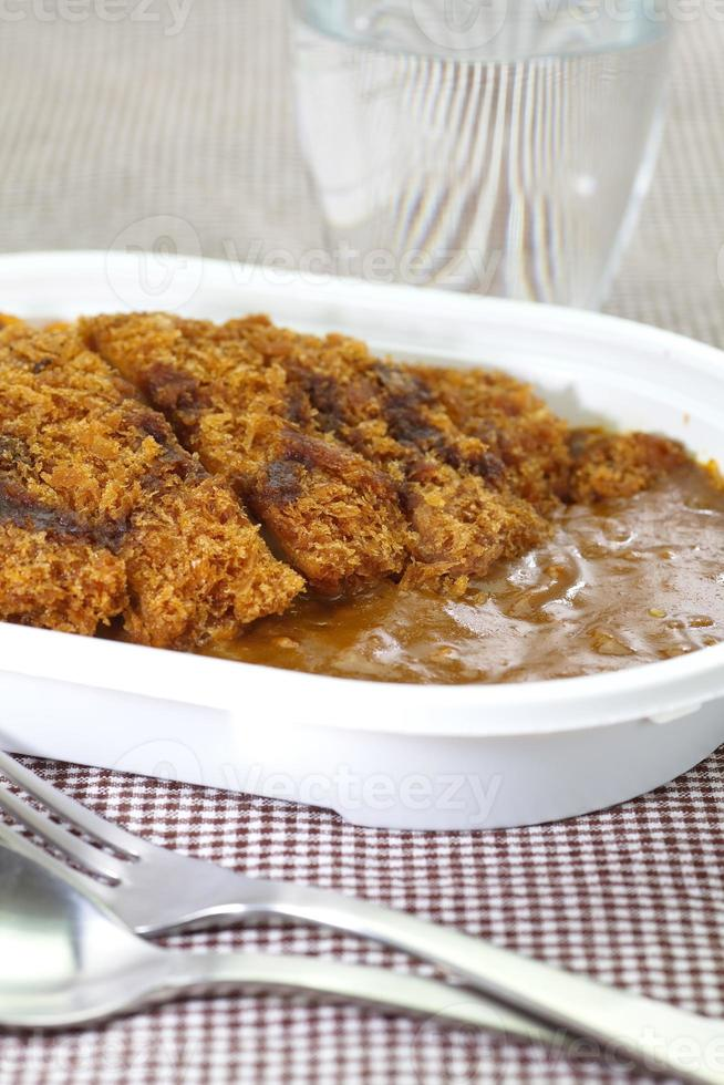 Japanese traditional food pork and curry rice photo