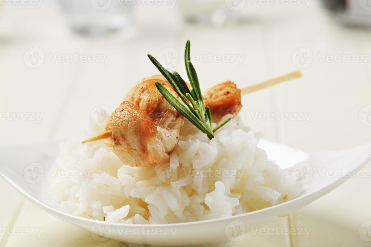 Chicken skewer and rice photo