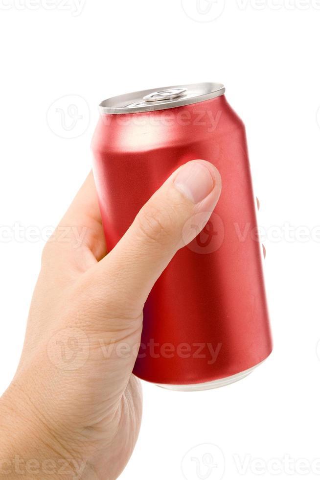 lata de refresco en blanco rojo foto