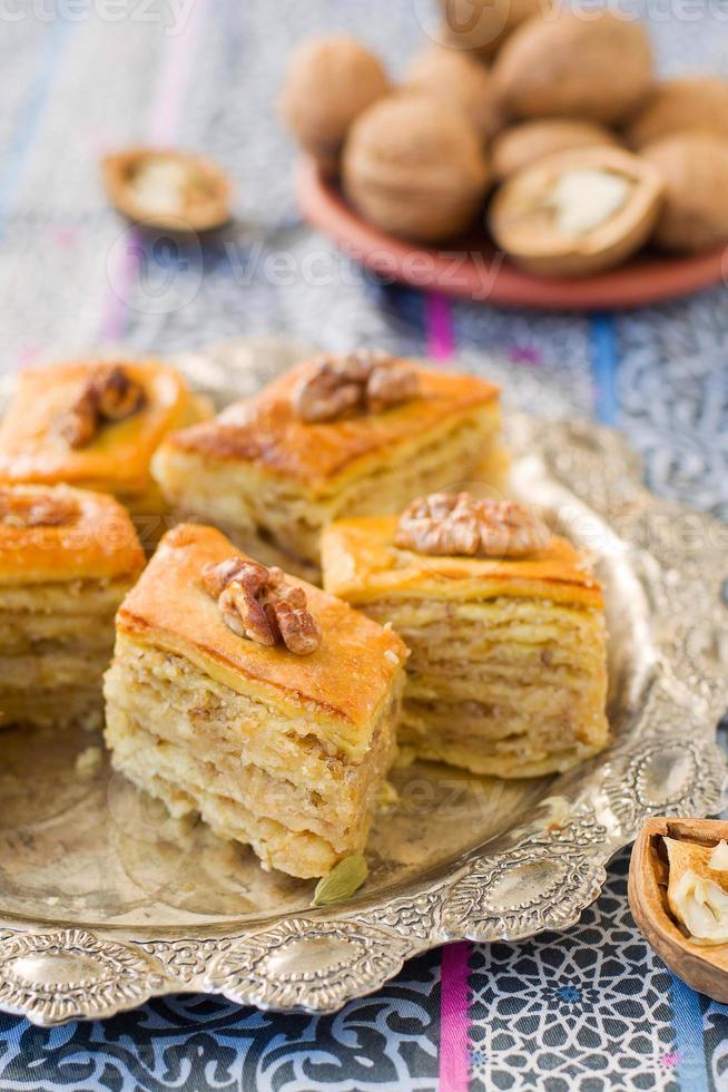 Baklava, traditional oriental sweets photo