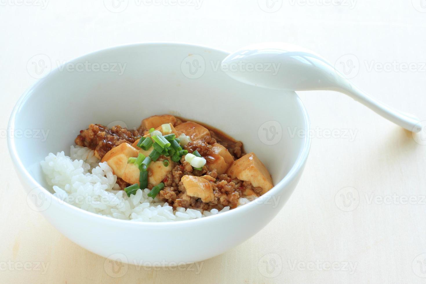 comida china, mapo tofu sobre arroz foto