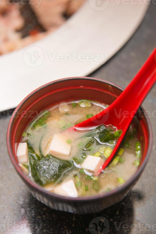 sopa japonesa de miso caliente comida japonesa foto