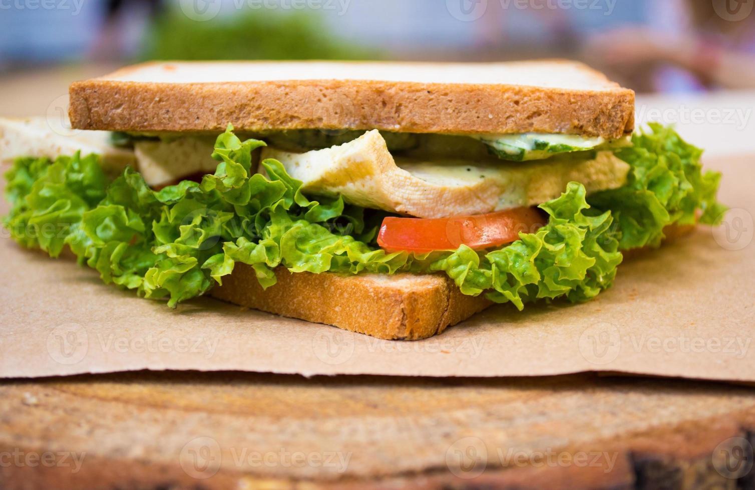 Vegan sandwitch with tofu photo