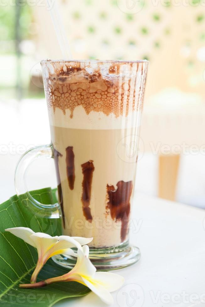 frappe coffee with plumeria photo