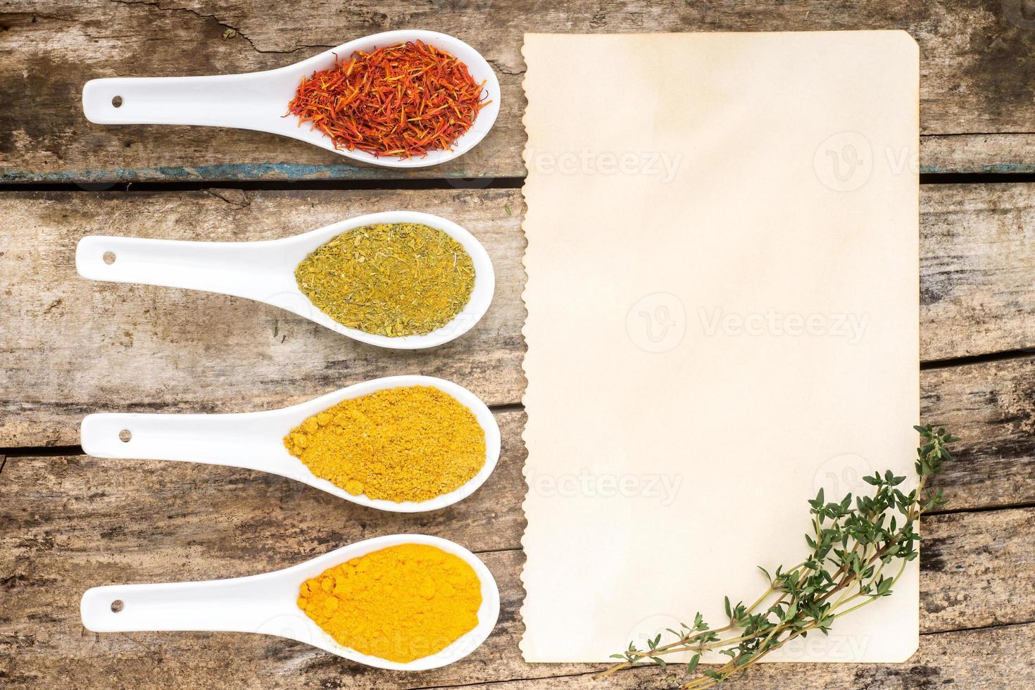 Spices recipe background. photo