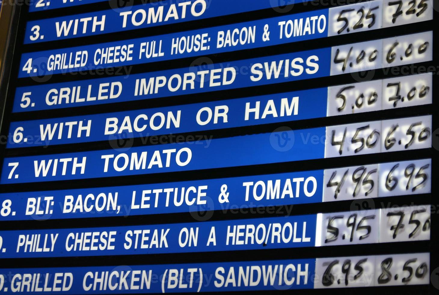 Diner menu photo