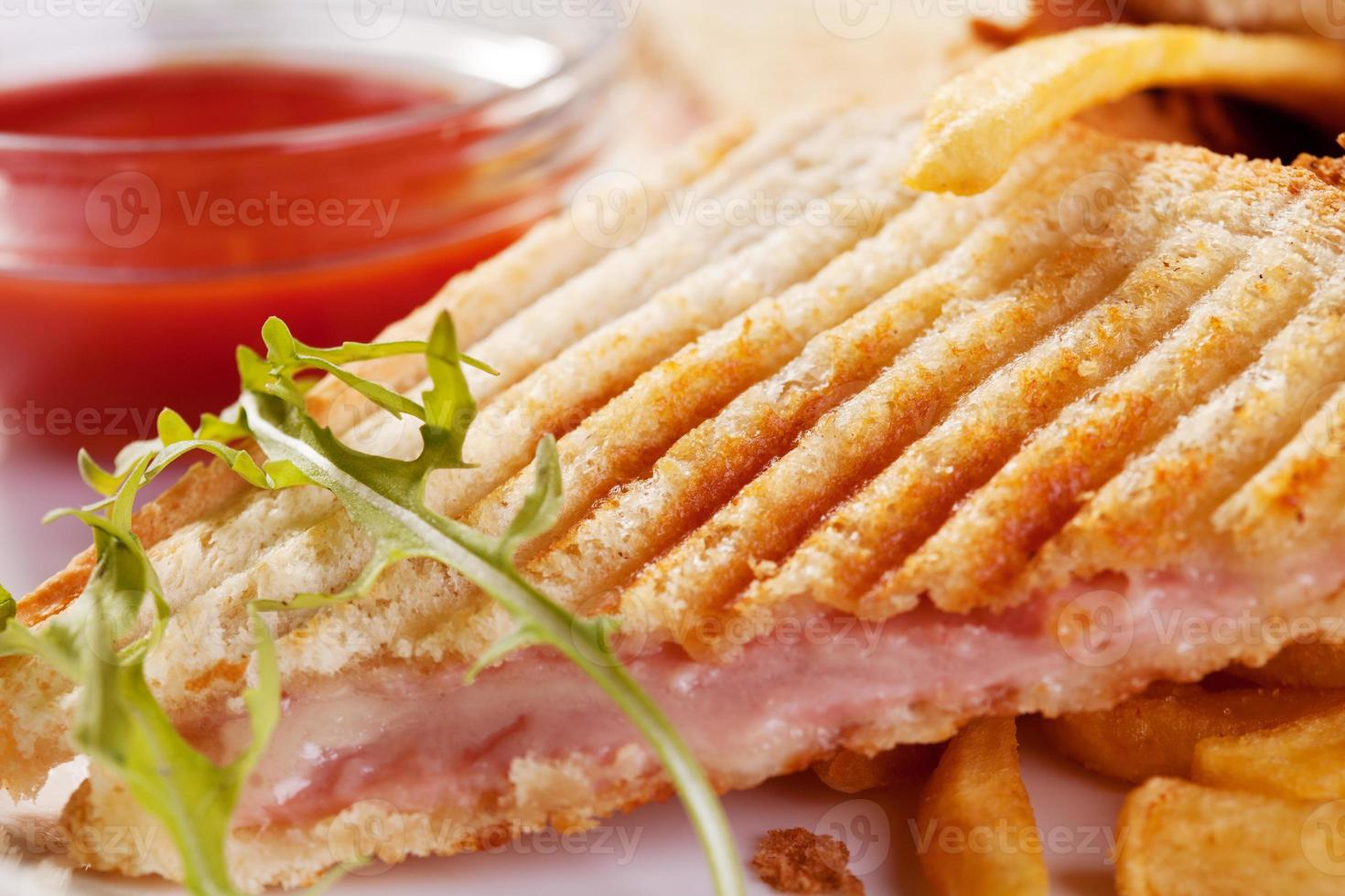 Toasted sandwiches with ham and cheese photo