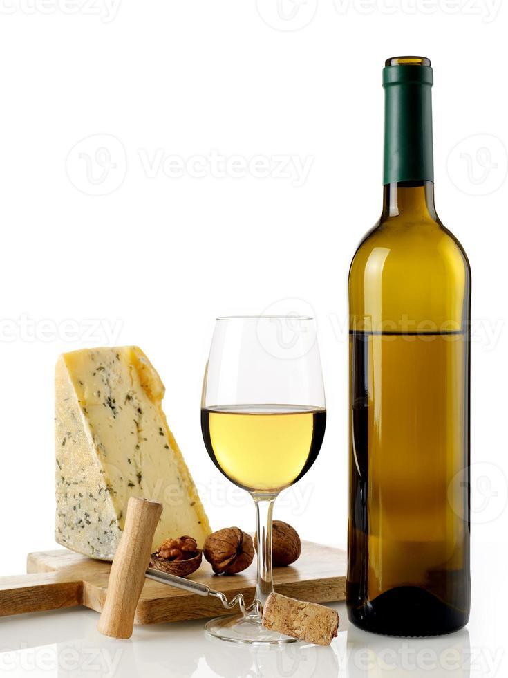 vino blanco y queso foto