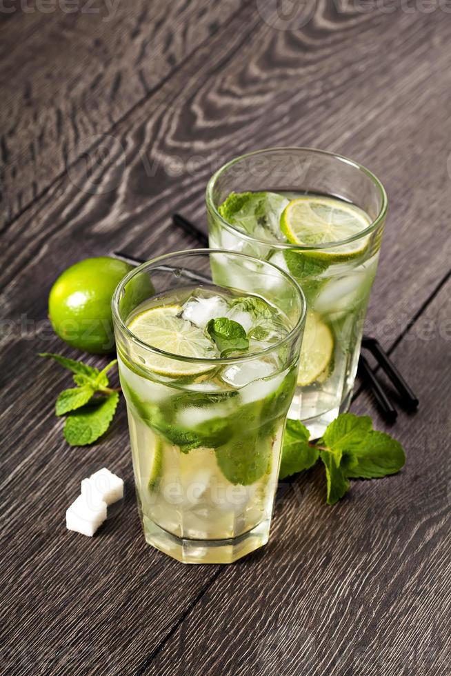 Summer cold cocktail drink mojito photo