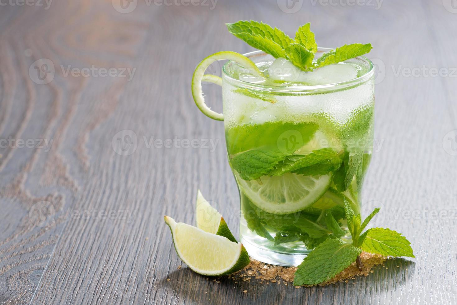 mojito cocktail with lime and mint on wooden table photo