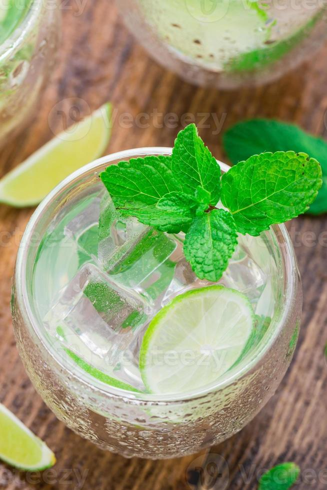 Cocktail with lime and mint photo