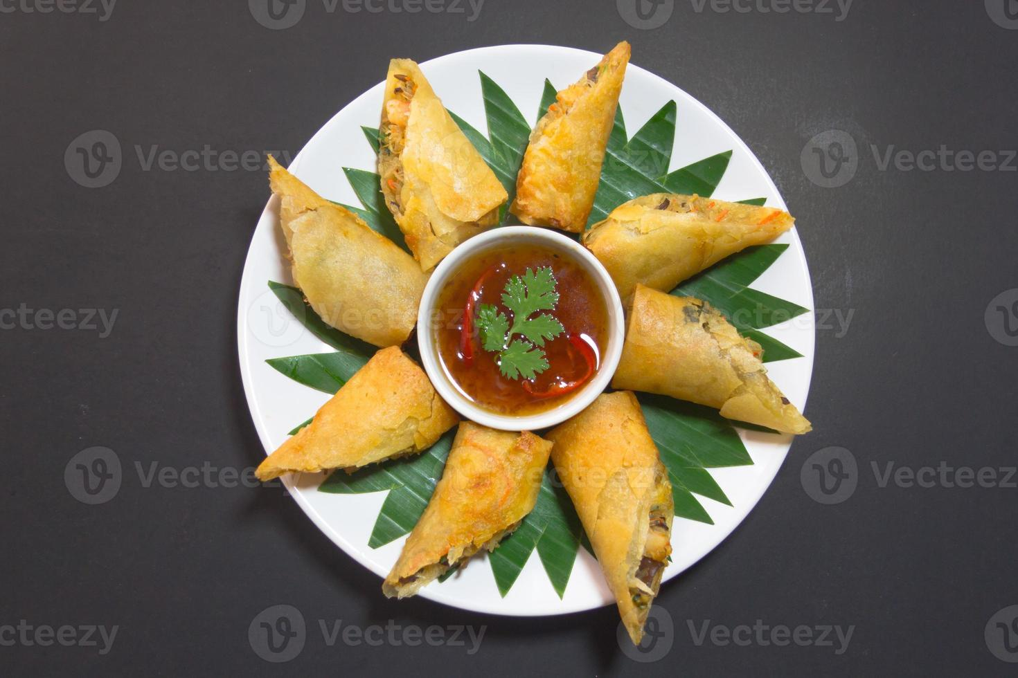Por Pieer Tod with cheese inside Thai Spring Roll photo