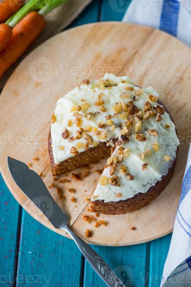 Organic carrot cake on board photo