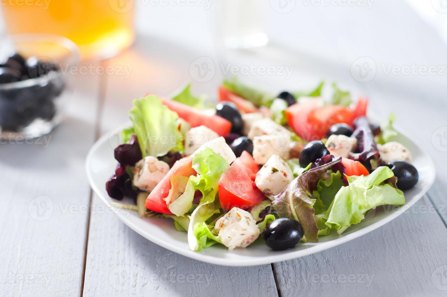 Diet and healthy mediterranean salad photo