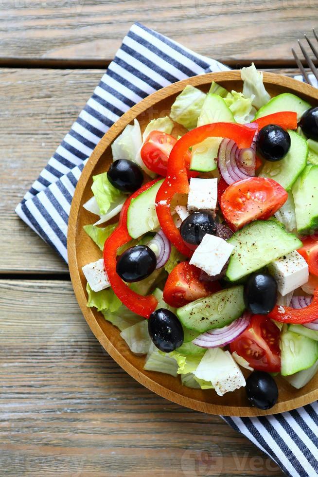 fresh salad with feta cheese photo