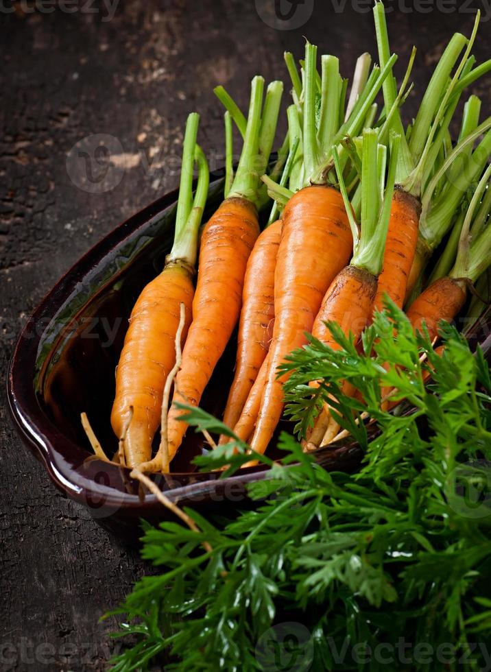 Fresh carrots on a wooden background photo