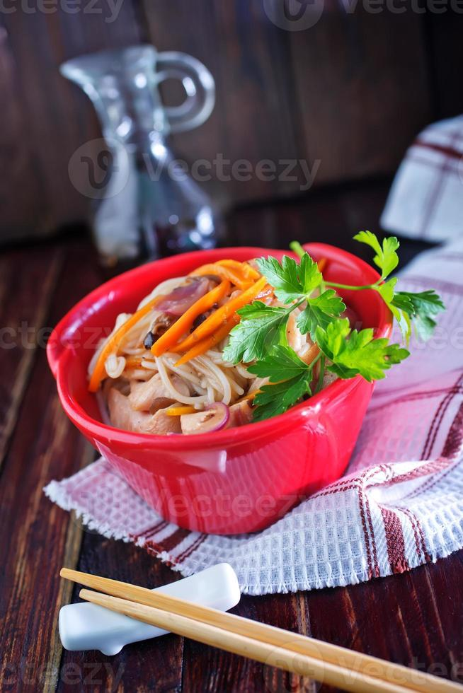 rice noodles with meat photo